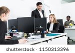 woman manager working at laptop ...   Shutterstock . vector #1150313396
