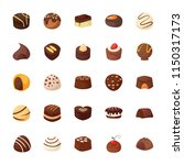 set of assorted chocolates... | Shutterstock .eps vector #1150317173