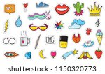 cute colorful modern patch set. ... | Shutterstock .eps vector #1150320773