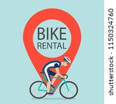 bike rental sign with location... | Shutterstock .eps vector #1150324760