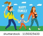 happy family. lovely parents... | Shutterstock .eps vector #1150325633