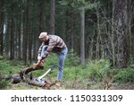 a bearded lumberjack with a... | Shutterstock . vector #1150331309