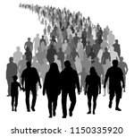 big crowd of people is moving.... | Shutterstock .eps vector #1150335920