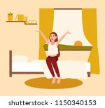 happy young woman or girl... | Shutterstock .eps vector #1150340153