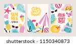 collection of summer card or... | Shutterstock .eps vector #1150340873