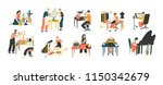 collection of people enjoying... | Shutterstock .eps vector #1150342679