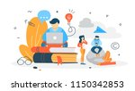 copywriter concept. writing... | Shutterstock .eps vector #1150342853