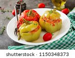 stuffed pepper with minced meat ... | Shutterstock . vector #1150348373