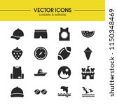 sunny icons set with ship ...