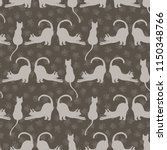 stretching cats vector pattern  ... | Shutterstock .eps vector #1150348766