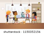 disabled african american girl... | Shutterstock .eps vector #1150352156