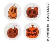 halloween pumpkin sticker. sets ... | Shutterstock .eps vector #1150352330