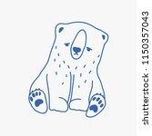 sad adorable baby polar bear... | Shutterstock .eps vector #1150357043