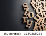 scattered english letters with...   Shutterstock . vector #1150365296