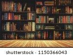 blurred bookshelf many old...   Shutterstock . vector #1150366043