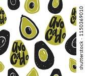 avocado vector seamless pattern.... | Shutterstock .eps vector #1150369010
