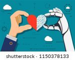 human hand and a robot holding... | Shutterstock .eps vector #1150378133
