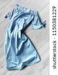 crumpled pastel blue linen... | Shutterstock . vector #1150381229