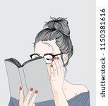 fashion illustration of girl...   Shutterstock .eps vector #1150381616