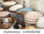 handmade color ceramic... | Shutterstock . vector #1150382426