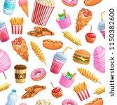 seamless pattern street food.... | Shutterstock .eps vector #1150382600