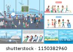 set of people in the airport... | Shutterstock .eps vector #1150382960