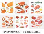 different kind of meat food... | Shutterstock .eps vector #1150386863