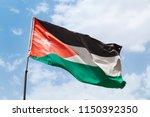 flag of jordan waving on wind...   Shutterstock . vector #1150392350