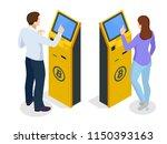 isometric modern bitcoin atm.... | Shutterstock .eps vector #1150393163