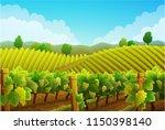 rural landscape of vineyard.... | Shutterstock .eps vector #1150398140