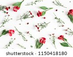 Stock photo flowers composition pattern made of red flowers on white background flat lay top view square 1150418180