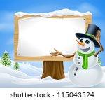 A Cute Cartoon Snowman In...