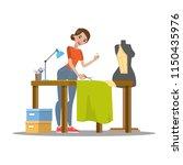 female dressmaker cutting cloth ... | Shutterstock .eps vector #1150435976