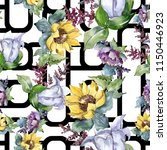 watercolor bouquet flowers.... | Shutterstock . vector #1150446923