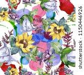 watercolor bouquet flowers....   Shutterstock . vector #1150446926