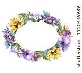 watercolor bouquet flowers.... | Shutterstock . vector #1150446989