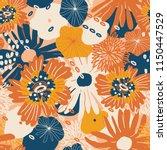 beautiful autumn flower pattern. | Shutterstock .eps vector #1150447529