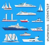 ships vector boats or cruise... | Shutterstock .eps vector #1150447619