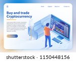 buy and trade cryptocurrency.... | Shutterstock .eps vector #1150448156