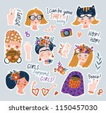 sticker set of women of... | Shutterstock .eps vector #1150457030