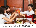 group of asian happy and... | Shutterstock . vector #1150458410