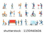 delivery service set  couriers... | Shutterstock .eps vector #1150460606