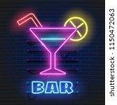neon cocktails bar sign on dark ... | Shutterstock .eps vector #1150472063