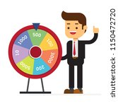 businessman with fortune's wheel | Shutterstock .eps vector #1150472720
