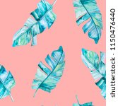 tropical leaves watercolor... | Shutterstock . vector #1150476440
