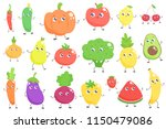 set of cute cartoon fruits and... | Shutterstock .eps vector #1150479086