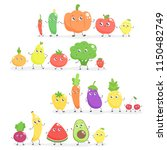 set of cute cartoon fruits and... | Shutterstock .eps vector #1150482749