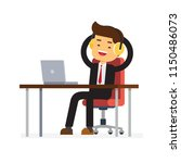 businessman with desktop... | Shutterstock .eps vector #1150486073