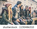 group of multi ethnic friends... | Shutterstock . vector #1150486310