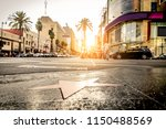 Stock photo walk of fame at sunset on hollywood boulevard 1150488569